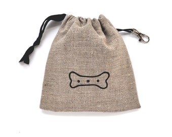 Bone Print Dog Treat Pouch - Natural Linen