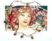 MUCHA Gold Red Choker, Art Nouveau Flower Choker with Brass & Jade Flowers, Dainty Choker, Bridal Choker, Graduation Gift, Fine Jewelry,