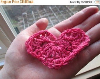 Mid-winter Sale valentine's day decorations, crochet hearts, red, white, bright pink, pale pink, set of 5