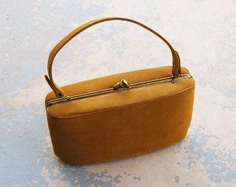 vintage 50s Purse - 1950s Mustard Yellow Suede Purse Oval Box Purse Handbag