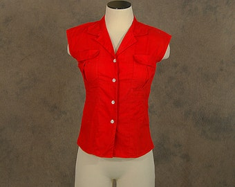 vintage 50s Blouse - 1950s Red Cotton Button Front Shirt - Rockabilly Sleeveless Shirt Sz S