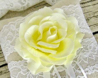 Wedding ring pillow, linen ring bearer, Yellow rose ring bearer, flower ring pillow, rustic (Choose your flower colour)