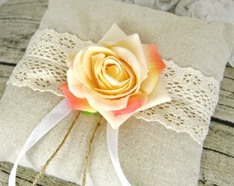 Champagne rose ring pillow, wedding ring pillow, lace linen ring bearer, flower ring pillow