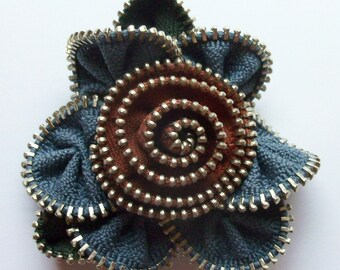 Slate Grey / Gray and Cinnamon Brown Floral Brooch / Zipper Pin by ZipPinning 3013
