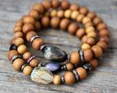 Labradorite Diamond Bracelet Bohemian Jewelry, Sandalwood 24K Gold Flash Gemstone, Bohochic, Boho Stacking Bracelet, Natural Gemstone Beaded