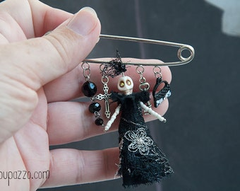 Glamour Skeleton Art Brooch Pin, miniature cloth