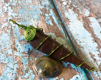 TEREBRIDAE Shell Spiral and Swirl Wire Wrapped Pendant In Lime Green Coated Copper - The Sea Witch Collection - Auger - Seashell - Mermaid
