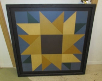 PriMiTiVe Hand-Painted Barn Quilt, Small Frame 2' x 2' - Sunflower Pattern