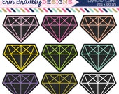 Black Diamond Clipart Personal & Commercial Use Geometric Diamond Clip Art Graphics