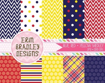 50% OFF SALE Blue Yellow and Red Commercial Use Digital Paper Set