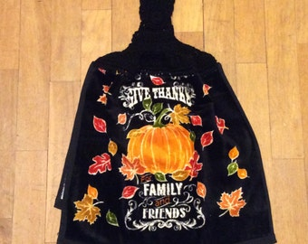 Give Thanks Family Friends Fall Whole Kitchen Towel - Pumpkin Signboard Harvest Leaves