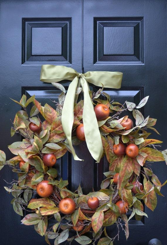Carmel Apple Fall Door Wreath, Front Door Fall Wreaths, Fall Decor,  Ready to Ship, Autumn Wreath Wreath for Door Wall Art- Year Round Wreat