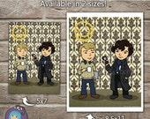 Sherlock and Watson Cartoon Art Print