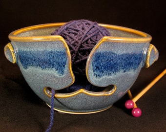 Yarn Bowl - Knitting Bowl - Blue Yarn Bowl - Gift for Her - Bowl Yarn - Crochet Bowl - Yarn Holder - Yarn Bowl Pottery - YarnBowl -InStock