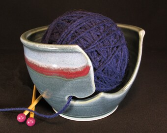 Knitting Bowl- Blue Knitting Bowl- Blue Open-Sided Yarn Bowl- Crochet Bowl- Yarn Holder- Pottery Yarn Bowl- Yarnbowl- Yarn Storage -InStock