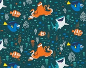 Disney Finding Dory and Friends Blue Children's Cotton Fabric