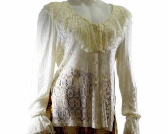 Vintage 1980's Le Chateau crocheted ruffled shirt size medium shipping included within Canada and U.S.A