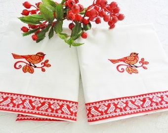 Red Bird Pillowcases, NOS Pillowcases, Never Used Pillowcases, Vintage Red Pillowcases, Machine Embroidery