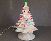 CHRISTMAS TREE  White glaze multi colored lighted 11 inches traditional holiday decoration  Ceramic tree   ( READY to ship)#061515wt
