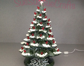 Traditional Green and Red Large lighted Ceramic Christmas Tree with Snow ......18 inches Tall #GG,redT,Snow