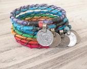 Tribal Gypsy Bangle Stack, Colorful Bohemian Bracelets, Silk Wrapped Bangles, Rainbow Jewelry, 7 Piece Set