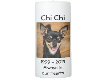 Custom Pet Memorial Pillar Candle 6 or 8 inches tall Personalized