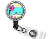 ON SALE - Personalized Teacher Retractable ID Badge Reel Holder - Gifts for Teachers, Teacher Lanyard, Thank You Gift, Back to School, Teach