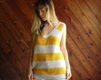 extra 25% off SALE ... Yellow Striped Knit Sweater Tank Top Pullover - Vintage 80s - OS MEDIUM M