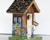 Tan and Maroon Handcrafted Birdhouse , Hand Painted , with Birdhouse in the eaves and Bench , with Clean Out