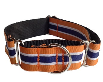Orange and Navy Stripe Dog Collar - Martingale or Buckle