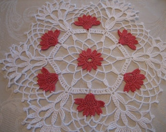 Hand crochet, New, Floral  Vanity Doily white/coral , New, Turkishteam
