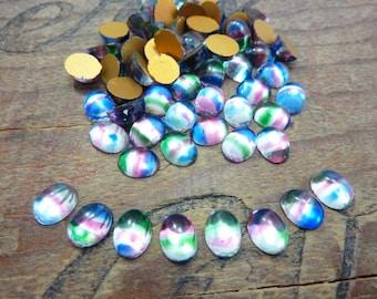 Glass Rhinestone 8x6mm Oval Iris Rhinestone Luminous Tri Color Vintage (LAST 24)