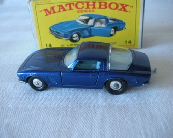 "Vintage 1968 LESNEY Matchbox Series #14 ""Iso Grifo"" Blue Diecast Sports Car in Original Box Made in England by Lesney"