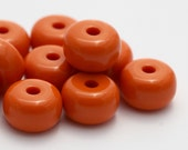 Vintage Opaque Orange Lucite Spacer Beads 15mm (10)