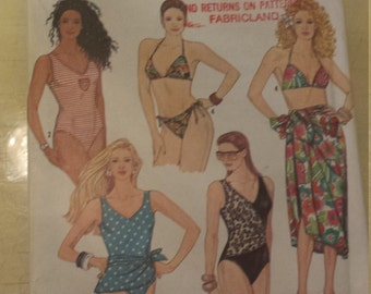 Simplicity One and Two piece Swim Suits Wrap Skirt / Pareo Size 4-12 Uncut