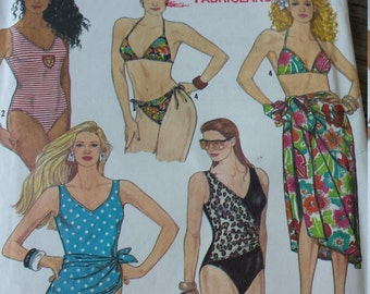 Simplicity  Swimsuit and Sarong Pattern 9750 Size 4-12 UNCUT