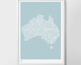 Australia Type Map Screen Print, Australia Font Map, Australia Word Map, Australia Text Map, Australia Artwork, Australia Wall Poster