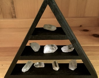 Magical Pyramid Shelf Triangle Shelf Black Stain 7 Clear Crystals Included!