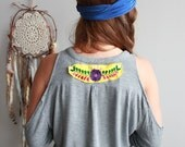 Mexican Embroidered Open Shoulder Tee Size Large Bohemian Hippie Gypsy Clothing Upcycled OOAK Womens Clothing