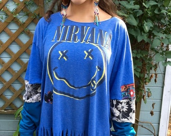 Nirvana Grunge Rock  Eco Friendly Nirvana Mixed Sleeve Cuff Fringe Upcycled Tshirt/Tee/Top/Shirt Womens Size XL/2XL