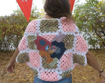Granny Square Crochet Sweater Patchwork Heart Bohemian Dreamer Jacket Sweater Shrug Cardigan Festival Batwing Kimono Dolman Sleeves S/M