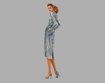Early 1980s Dress and Scarf pattern, Vogue American Designer 2330 Jerry Silverman, Size 12 Bust 34 UNCUT Triangular scarfm Standing neckline