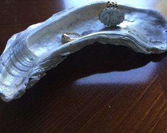 Oyster shell ring dish jewelry holder trinket dish hostess gift Outer Banks seashells Beach House Dreams OBX wedding bridesmaids mermaid