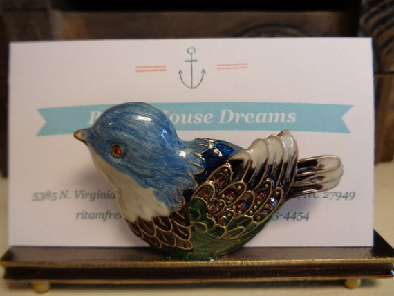 Bird business card holder as seen in Bird Talk magazine craft show display new job promotion blue purple orange professional office decor