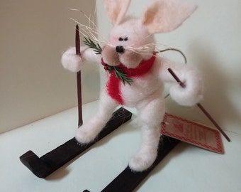 Snow Bunny Felted Wool Ornament - NEW for 2015