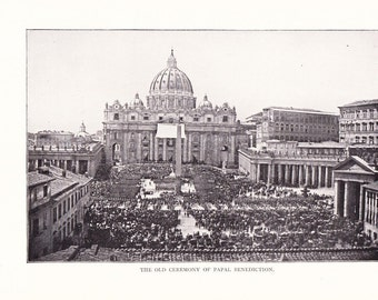 1900 Architecture Photograph - St. Peter's Basilica Rome Italy Pope - Antique Vintage Design Art Photo Illustration Framing 100 Years Old