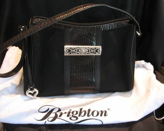 Vintage Brighton Handbag Purse Black Croc & Cloth excellent