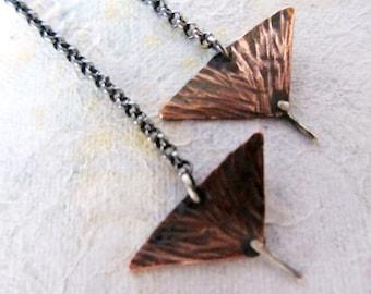 Long tribal copper earrings, long dangle arrow earrings,oxidized copper and sterling silver