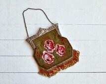 Emporium Rose handbag | antique 1920s beaded bag | vintage 20s beaded purse