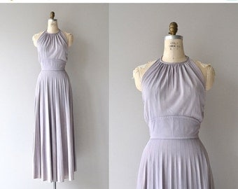 25% OFF.... Lilac Dust halter maxi dress | vintage 1970s halter dress | 70 maxi dress